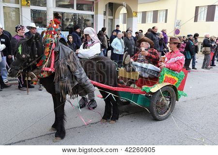 LOULE, PORTUGAL - FEB 12:  Allegoric car in a carnival parade on February 12, 2013 in Loule, Portugal.