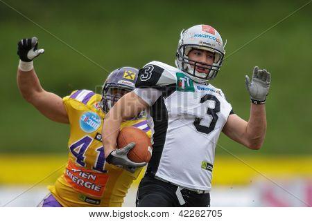 VIENNA, AUSTRIA - APRIL 22 WR Damaso Tarneller (#3 Raiders) runs with the ball  on April 22, 2012 in Vienna, Austria.
