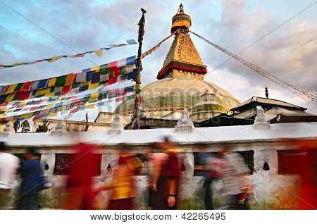 Kora Around Boudhanath Stupa