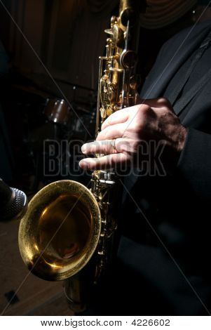 Close Up Of A Saxophone Being Played