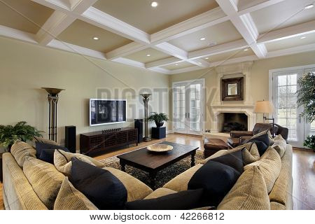 Family room in luxury home with fireplace