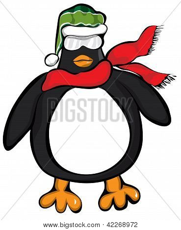 Penguin with Scarf and Knit Cap