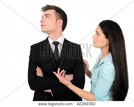 Isolated young business couple sadness