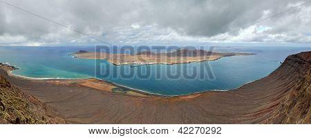 Panorama Of La Graciosa Island. Canary Islands.