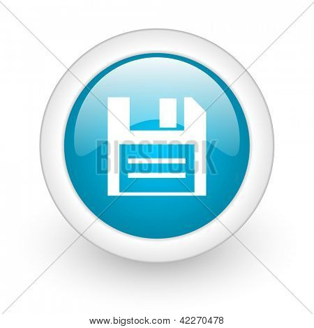 disk blue circle glossy web icon on white background