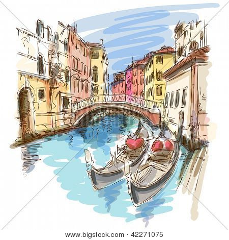 2 gondels. Ponte del Mondo Novo, S.Maria Formosaplein. Venetië, Italië. Vector schets. Eps10