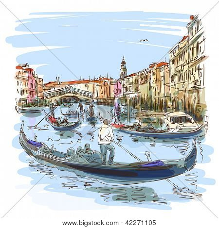 Venice - Grand Canal. View of the Rialto Bridge. Vector sketch. Eps10