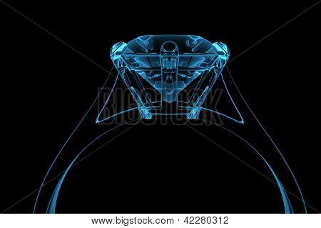 Computer generated blue diamond ring isolated on black