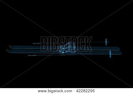 Ski 3D rendered xray blue transparent isolated on black