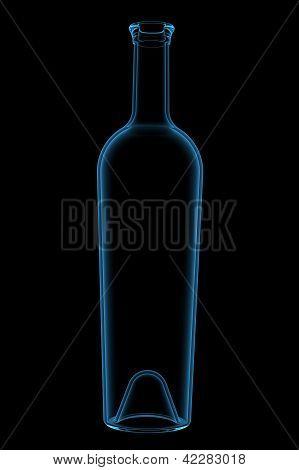 Botle 3D xray blue transparent