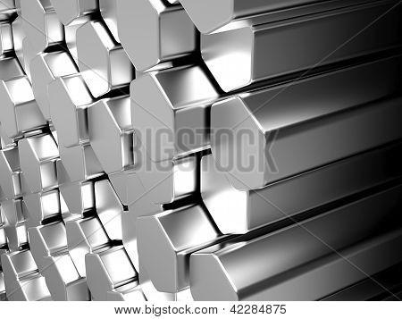 Shiny Hexagon Metal Bars Background
