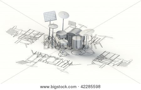 Drum set charts with 3d model on top