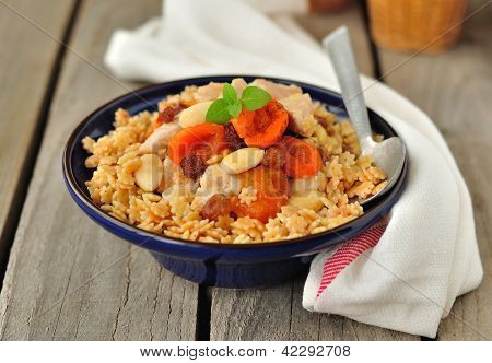Chicken with Dried Fruit on Pasta