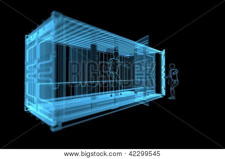 Shipping Container With Human Siluets