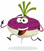 stock photo of turnips  - Illustration of a funny happy cartoon turnip or radish vegetable character running - JPG
