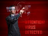 stock photo of cybercrime  - Cyber attack detected on digital interface - JPG