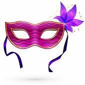 Violet vector carnival mask with flower