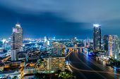 foto of highrises  - Landscape Bangkok city Modern building at twilight high angle - JPG