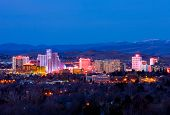 RENO - FEBRUARY 9: Reno skyline on February 9, 2013. It's known as The Biggest Little City in the Wo