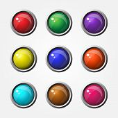 picture of spherical  - High Glossy Round Vector Button Design Collection - JPG