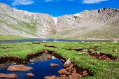 stock photo of colorado high country  - Summit lake at the tope of Mt - JPG