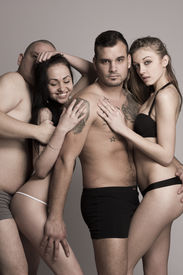 pic of swingers  - Sexy swinger foursome in lingerie in studio - JPG