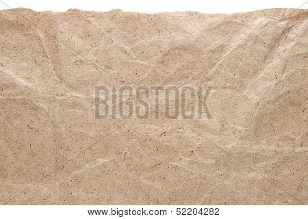 Kraft Paper Background With Torn Edge Isolated On White
