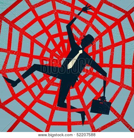 Abstract Businessman caught in a Spiders