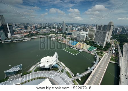 SINGAPORE - SEPTEMBER 16: An aerial view of Singapore's business district and tourist attraction on September 16, 2013 in Singapore. Singapore is also South East Asia's financial capital.