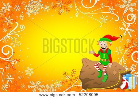 Christmas Background With Elf and Sack of Toys