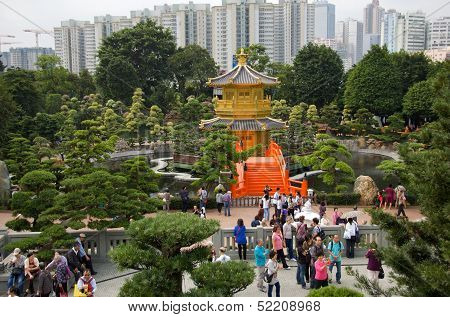 Hong Kong, China, November 19: Tourists Visiting Nan Lian Garden on November 19, 2011