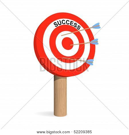 Success Target Board With Arrows. Vector Illustration