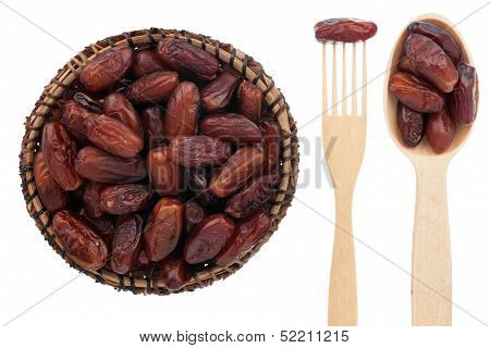 Spoon, A Fork, A Plate With Dried Date