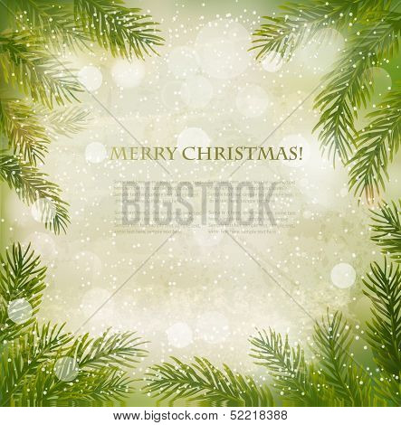 Christmas retro background with tree branches and snowflakes. Vector.