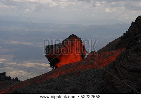 Lava rock  Volcano Pacaya erupting