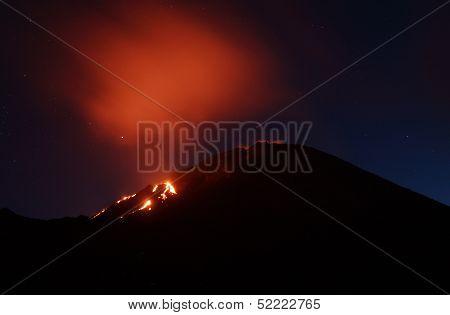 Volcano Pacaya erupting