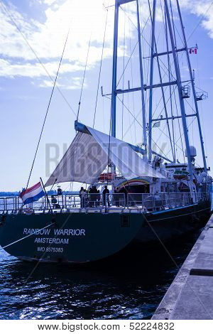 Original Rainbow Warrior Moored In Vancouver