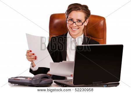 Young Pretty Business Woman With Notebook In The Office