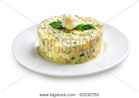 Salad With Krill Meat Isolated On White Background