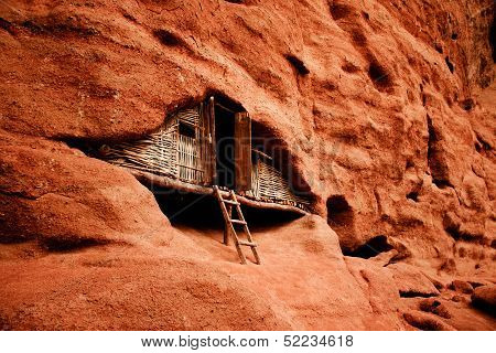 Wooden hut in red canyon China