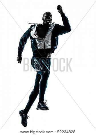 one african man  running sprinting jogging in silhouette studio isolated on white background