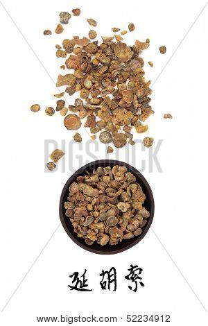 Corydalis tuber chinese herbal medicine with mandarin title script translation. Yan hu suo.
