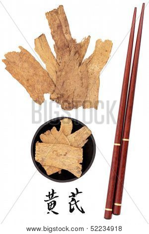Astragalus root used in traditional chinese herbal medicine with mandarin title script translation and chopsticks. Huang qi.