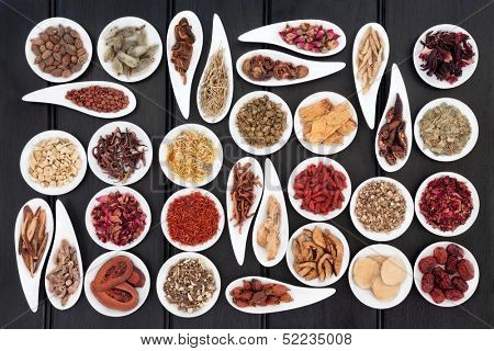 Large chinese herbal medicine selection in white porcelain dishes.