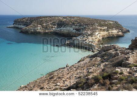 rabbit island beach in lampedusa