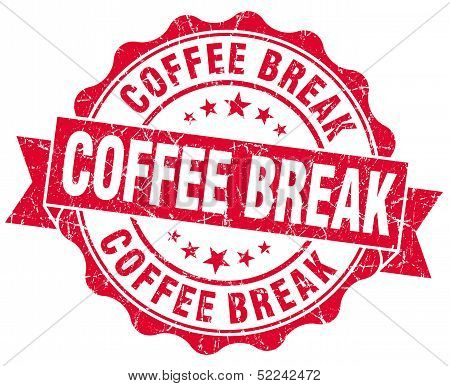 Coffee Break Red Grunge Stamp