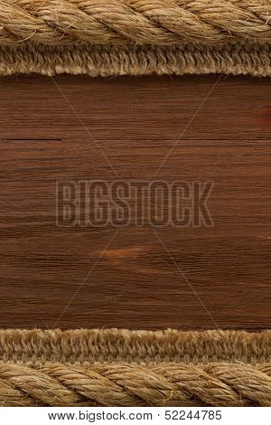 ship rope on wood texture background