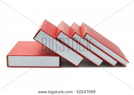 Red Hard Cover Books On White Background