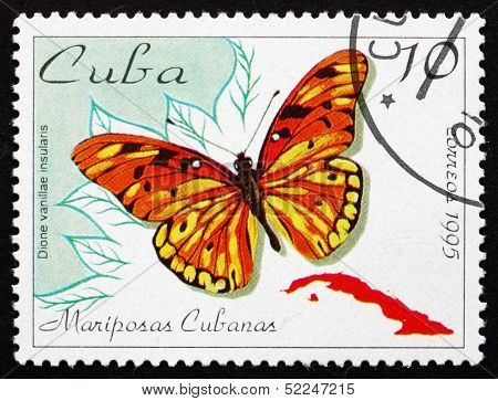 Postage Stamp Cuba 1995 Passion Butterfly, Butterfly