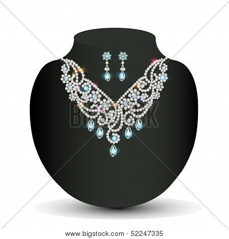 Of A Golden Necklace  Female With White Precious Stones